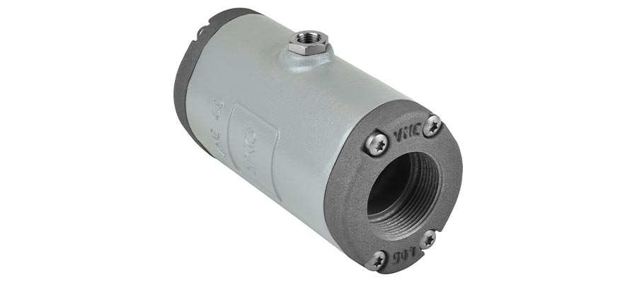 Pinch valve from the VMC series with internal thread connection, aluminium